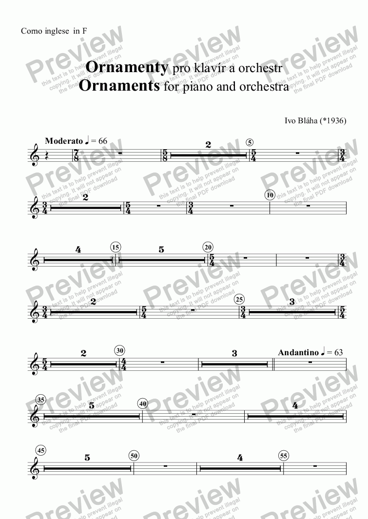 page one of the Corno inglese part from ORCorno ingleseNTS  for piano and orchestra