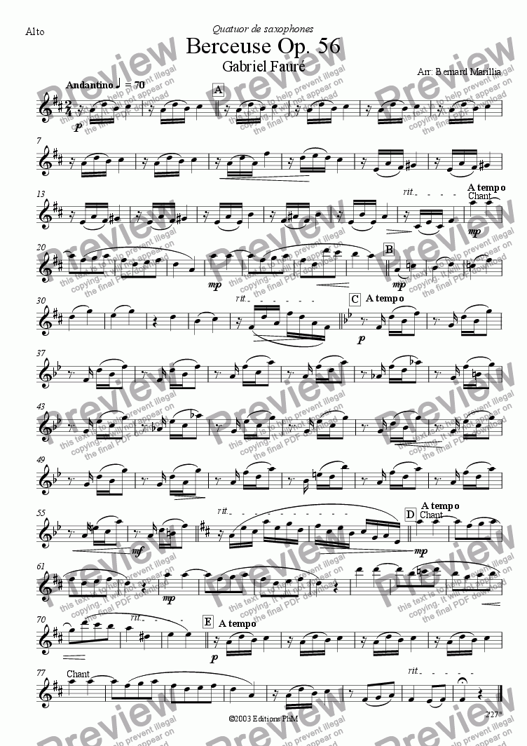 page one of the Alto Sax part from Fauré - Berceuse Op. 56 (Sax Quartet)