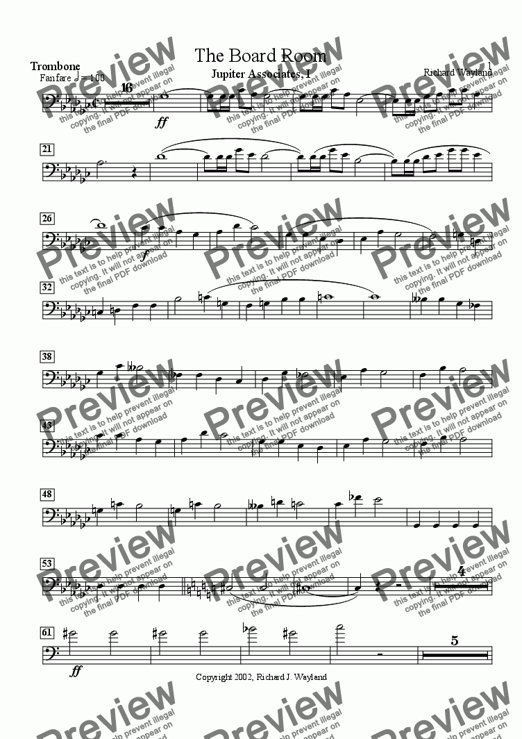 page one of the Trombone part from The Board Room