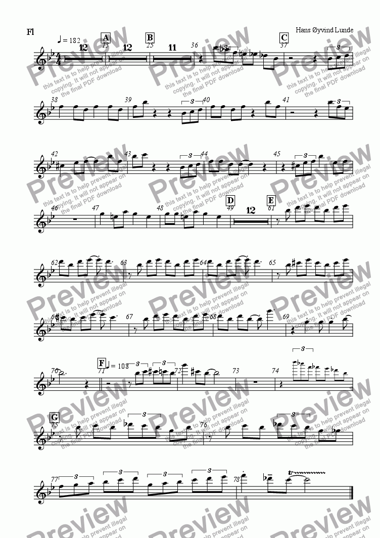 page one of the flute part from Haukeland Kronstad Blues