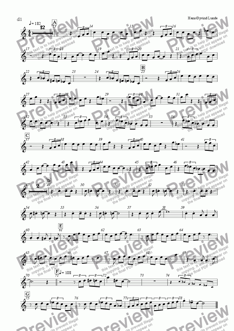 page one of the Clarinet1 part from Haukeland Kronstad Blues