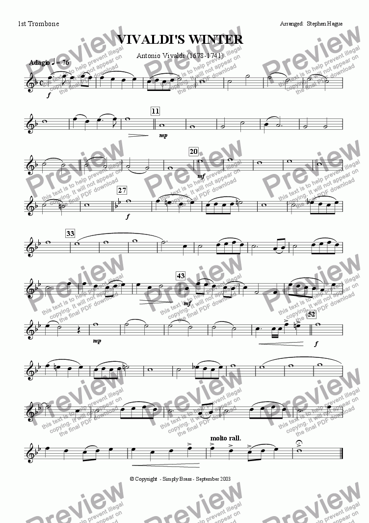 page one of the 1st Trombone part from The Four Seasons - Winter