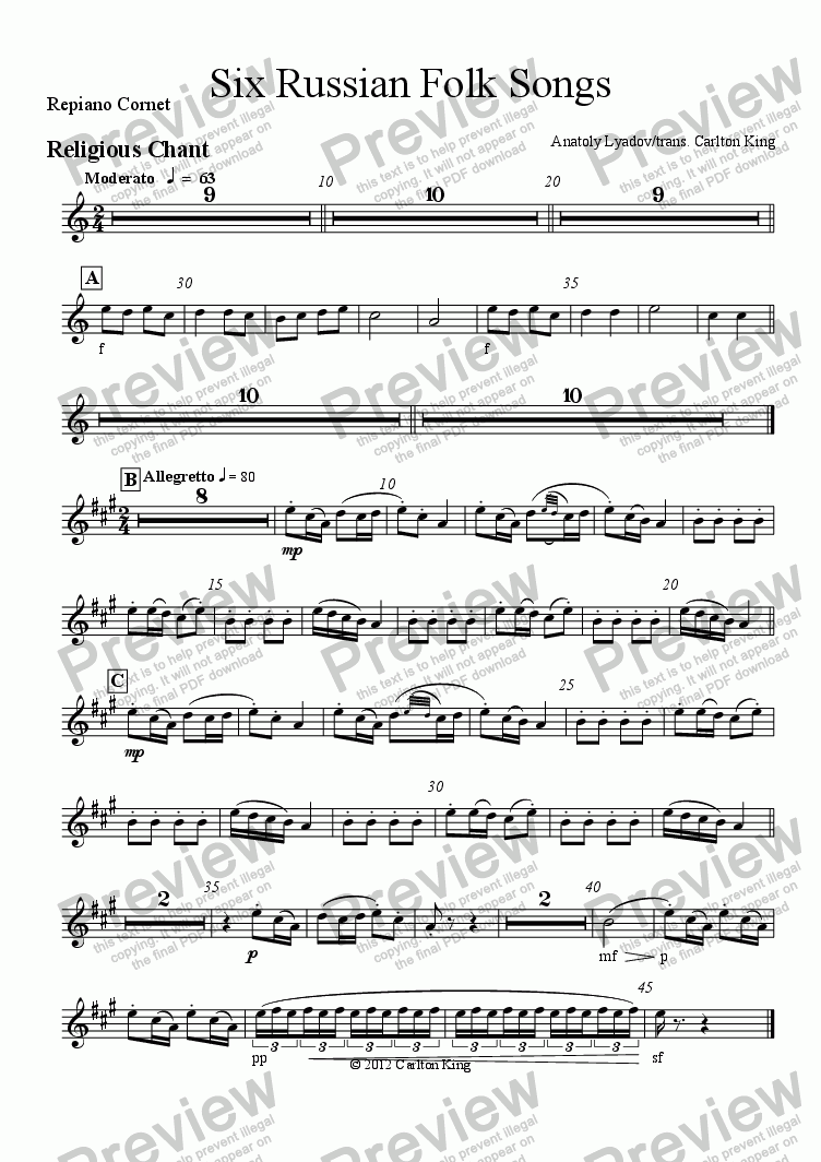page one of the Repiano Cornet part from Six Russian Folk Songs