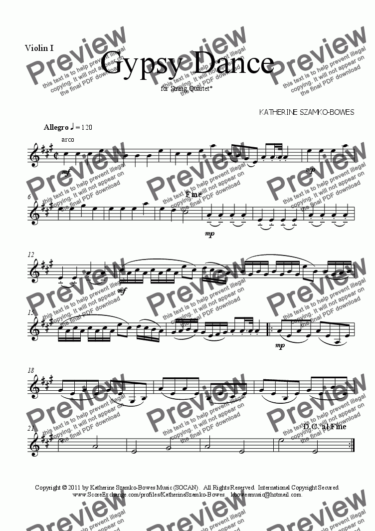 page one of the Violin 1 part from Gypsy Dance (STRING QUARTET/STRING ORCHESTRA)