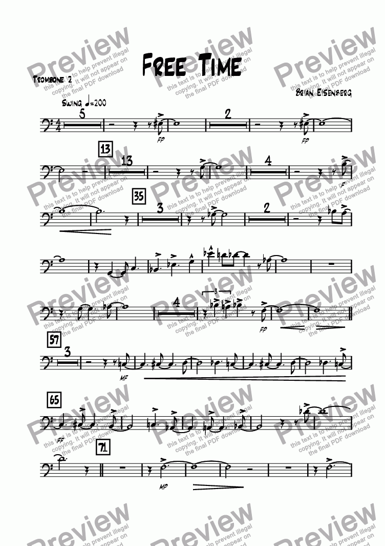 page one of the Trombone 2 part from Free Time