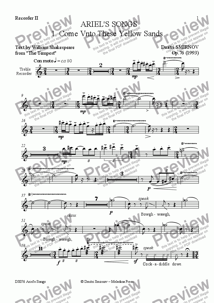 page one of the Recorder II part from ARIEL'S SONGS (Shakespeare) op76/3. While You Here... Voice, 2 rec, vlc, hrps