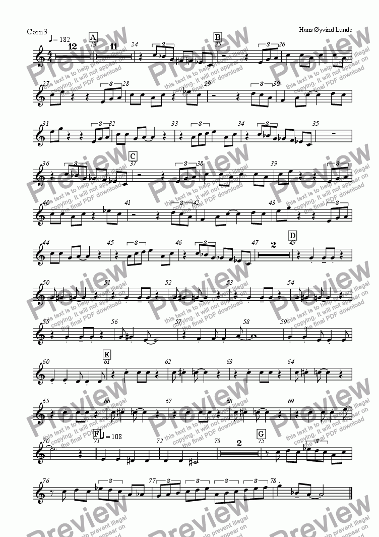 page one of the Cornet3 part from Haukeland Kronstad Blues