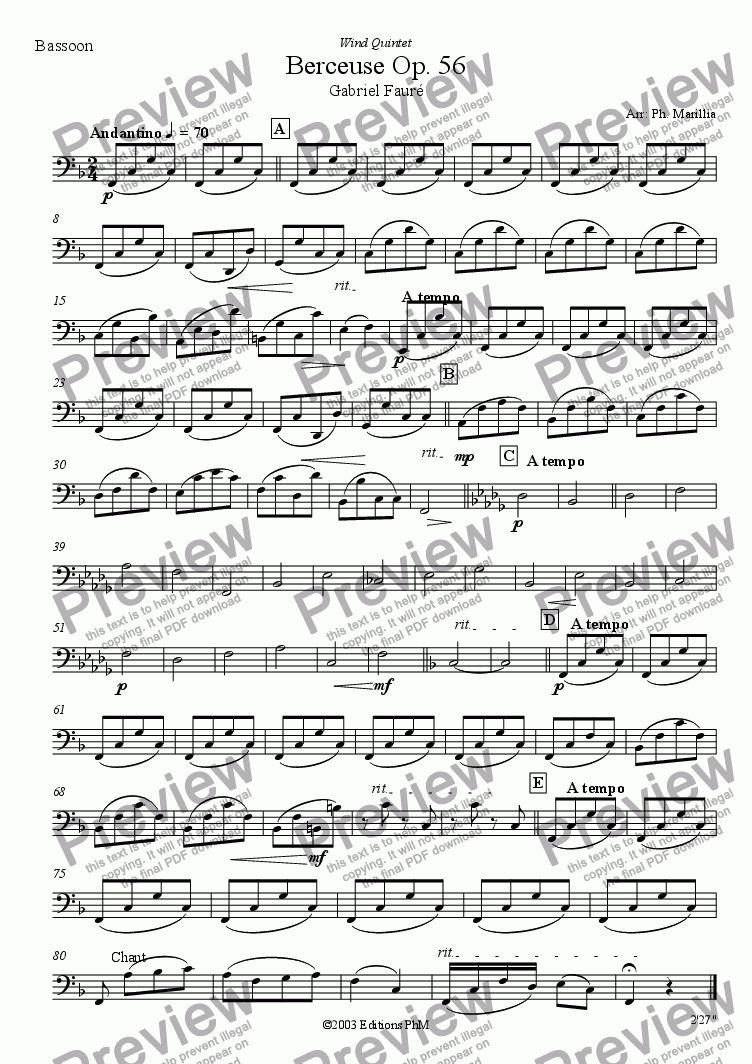 page one of the Bassoon part from Fauré - Berceuse Op. 56 (Wind Quintet)