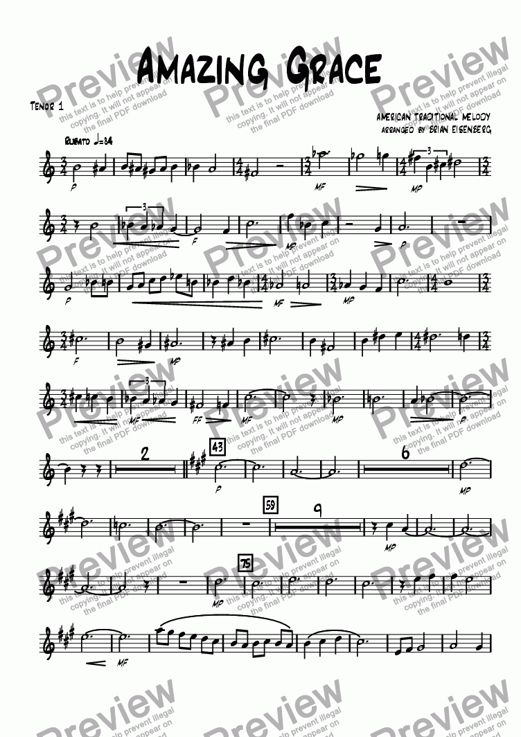 page one of the Tenor 1 part from Amazing Grace