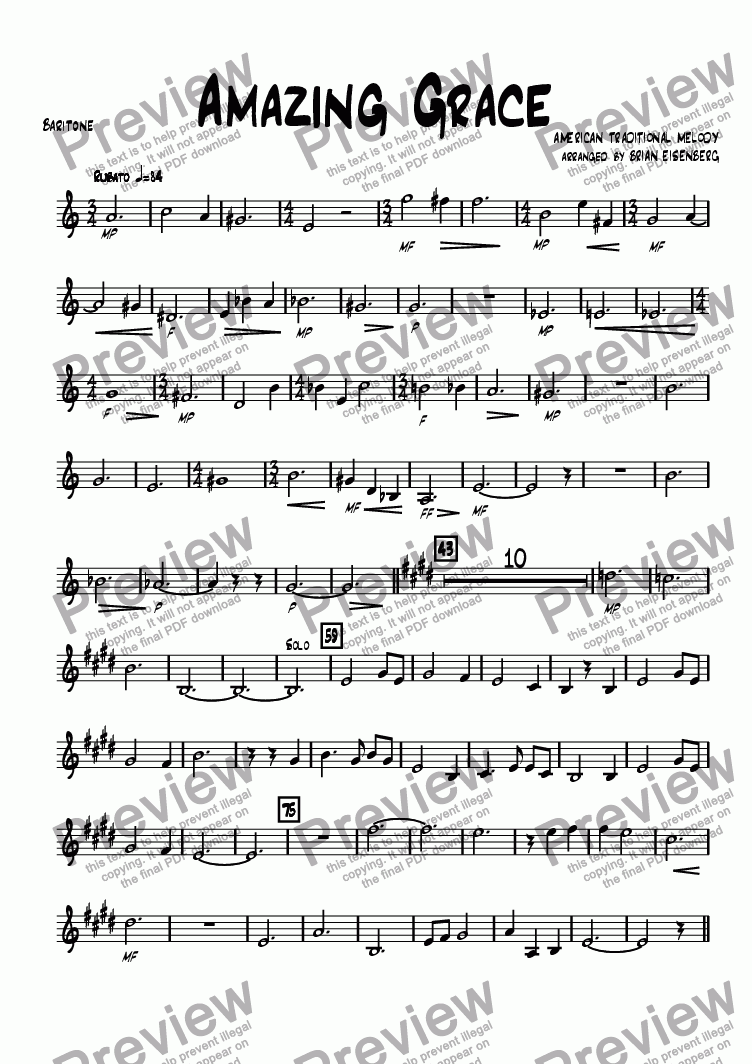 page one of the Baritone part from Amazing Grace