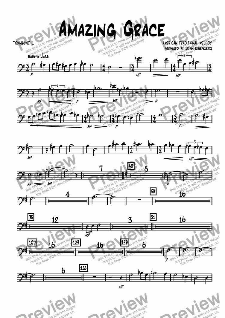 page one of the Trombone 1 part from Amazing Grace