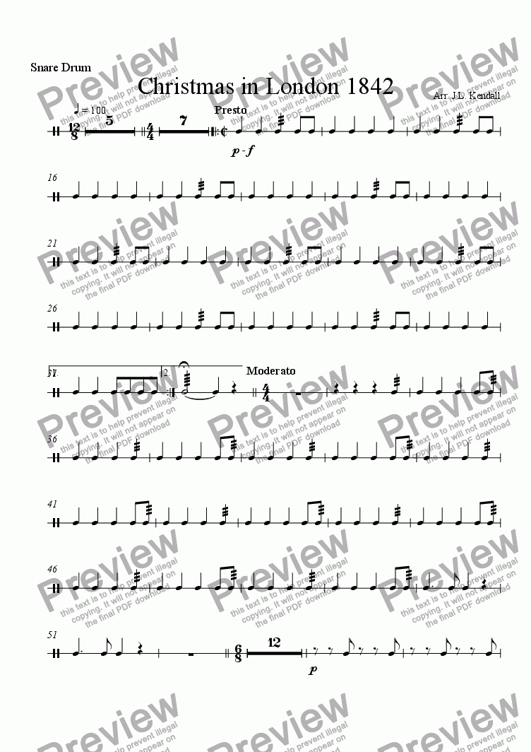 page one of the Snare Drum part from Christmas In London 1842