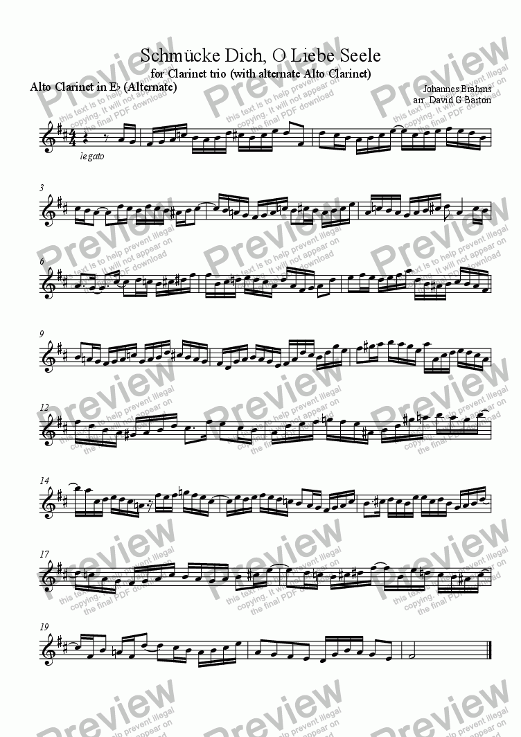 page one of the Alto Clarinet in E^b (Alternate) part from Schmücke Dich, O Liebe Seele (for Clarinet trio)