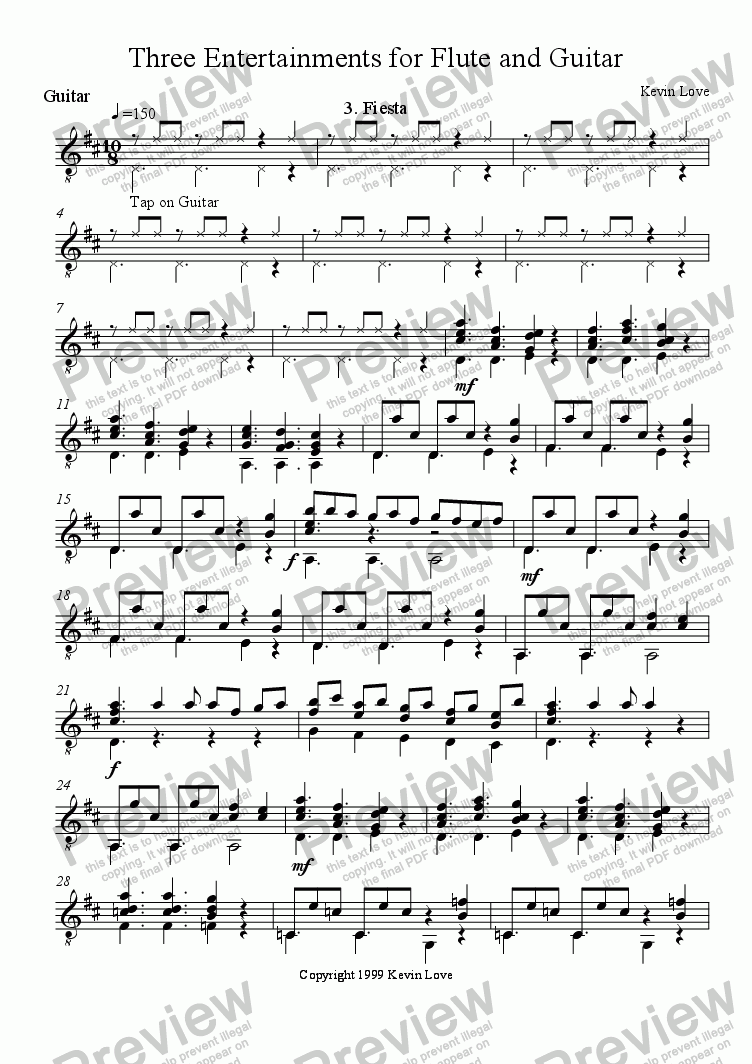 page one of the Guitar part from 3 Entertainments for Flute and Guitar - Fiesta