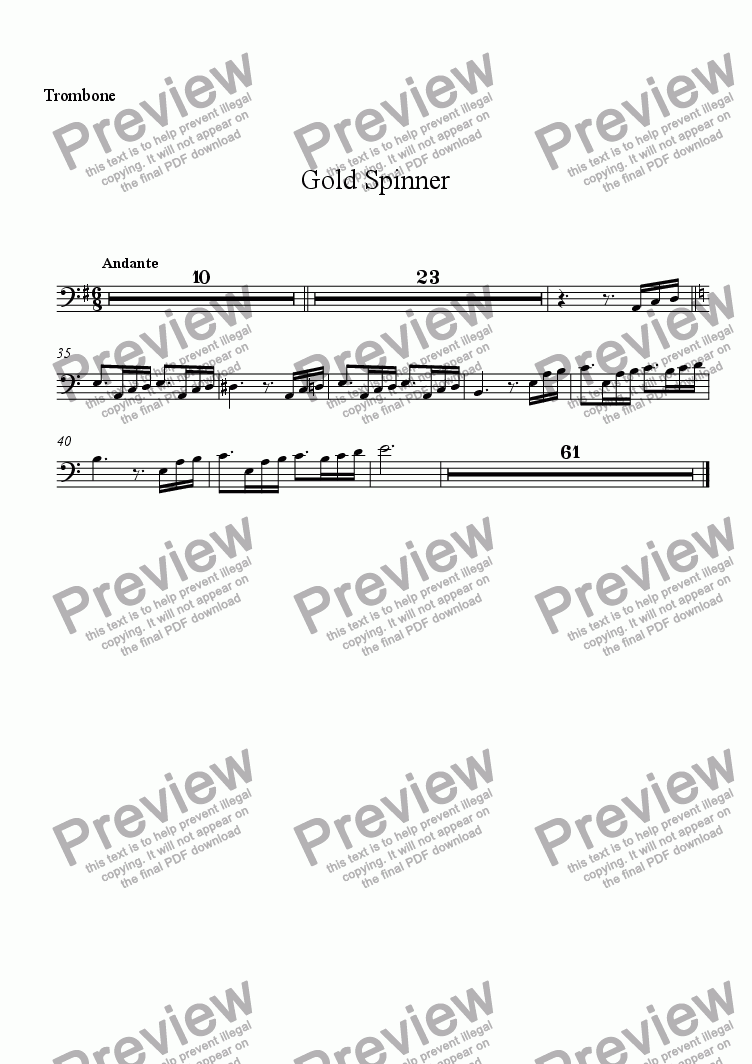 page one of the Trombone part from Gold Spinner