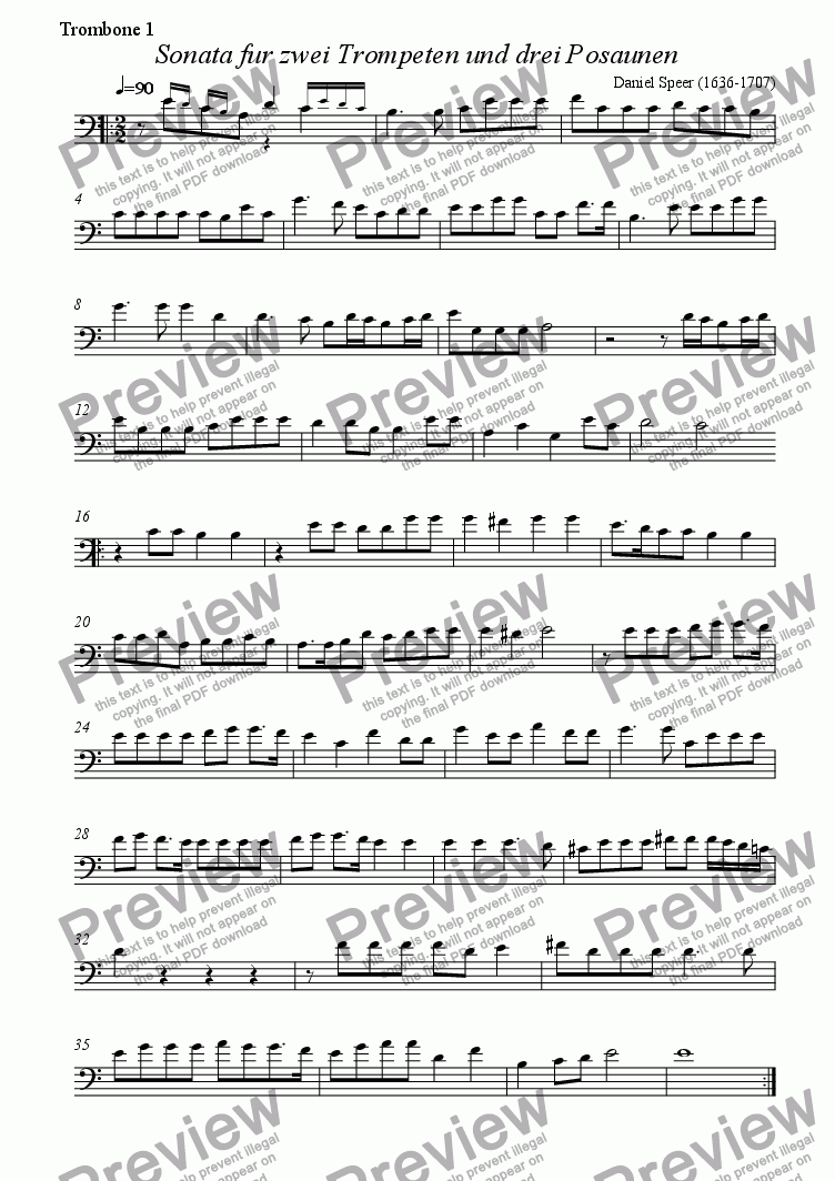 page one of the Trombone 1 part from Sonata for two trumpets & three trombones