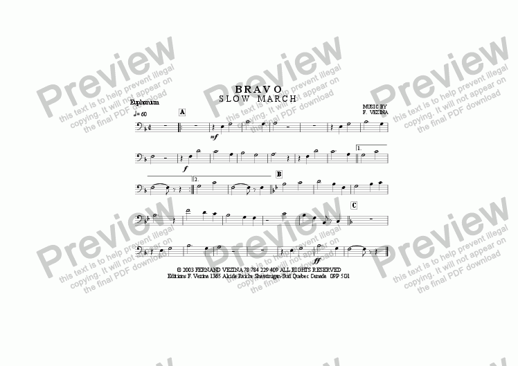 page one of the Euphonium part from Bravo (Slow March) for a Small Marching Band