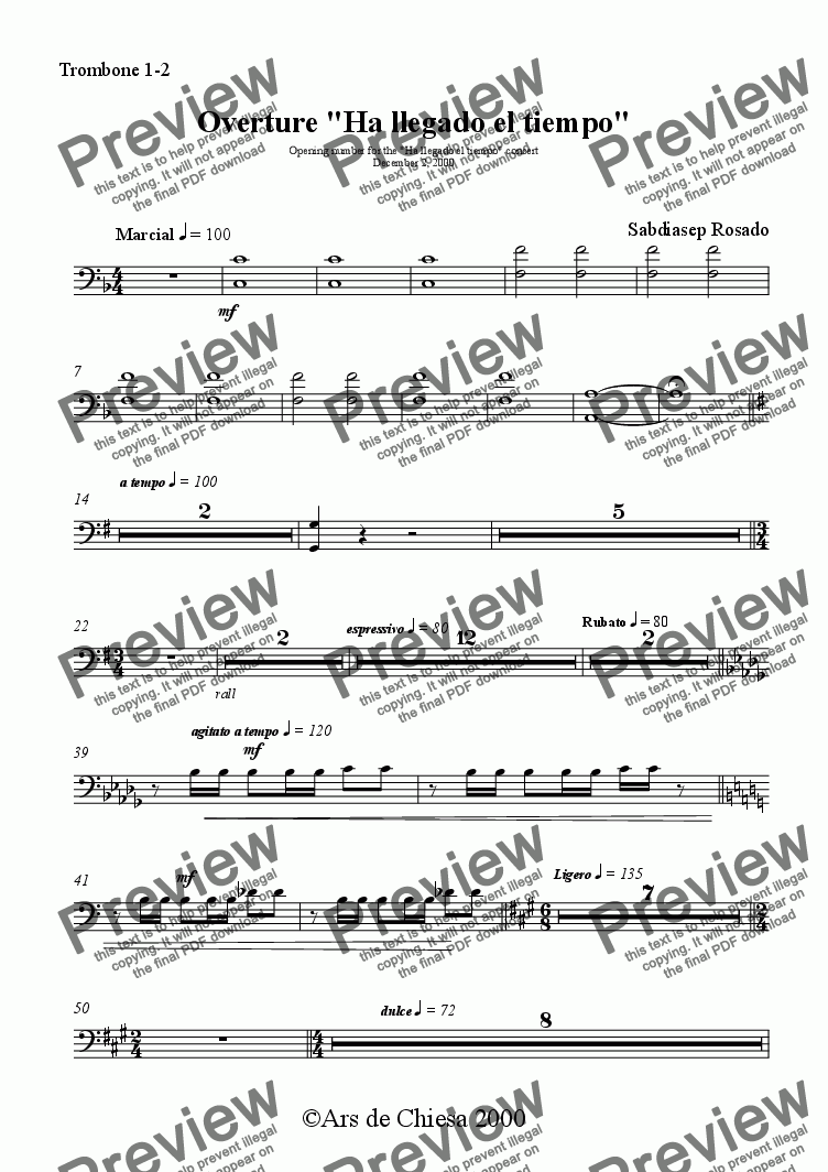 "page one of the Trombone 1-2 part from Overture ""Ha llegado el tiempo"""