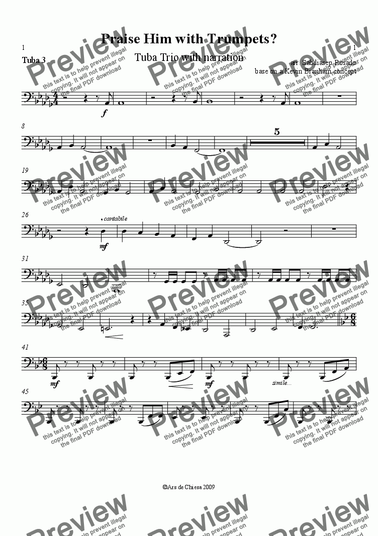 page one of the Tuba 3 part from Praise Him with Trumpets?
