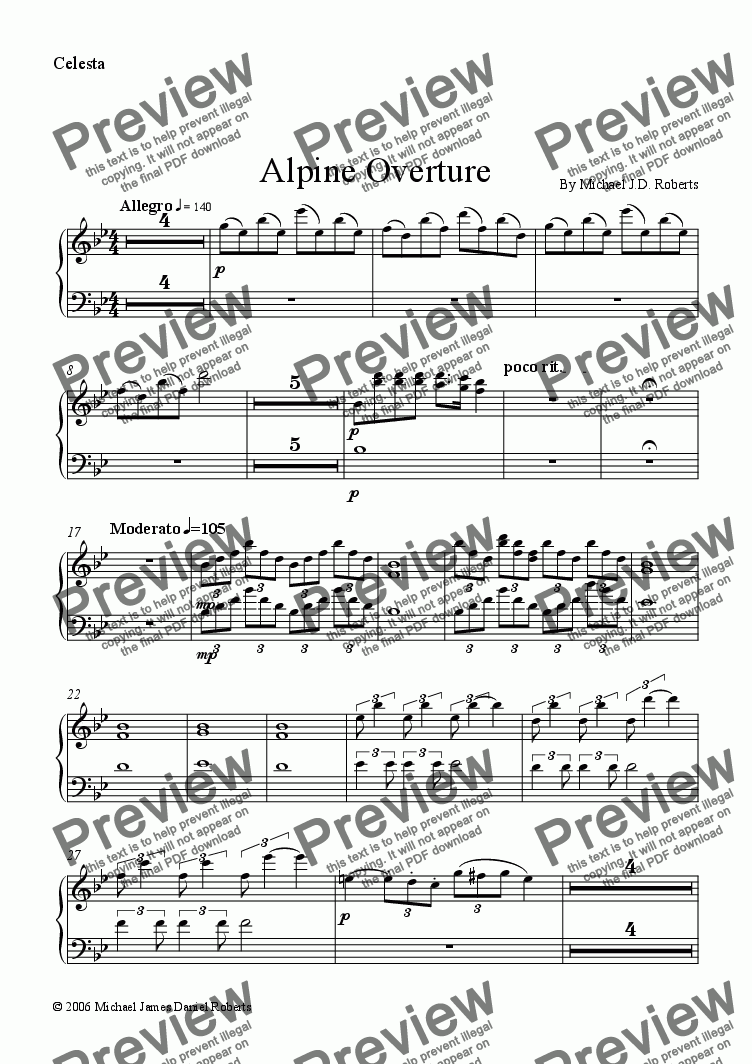 page one of the Celesta part from Alpine Overture