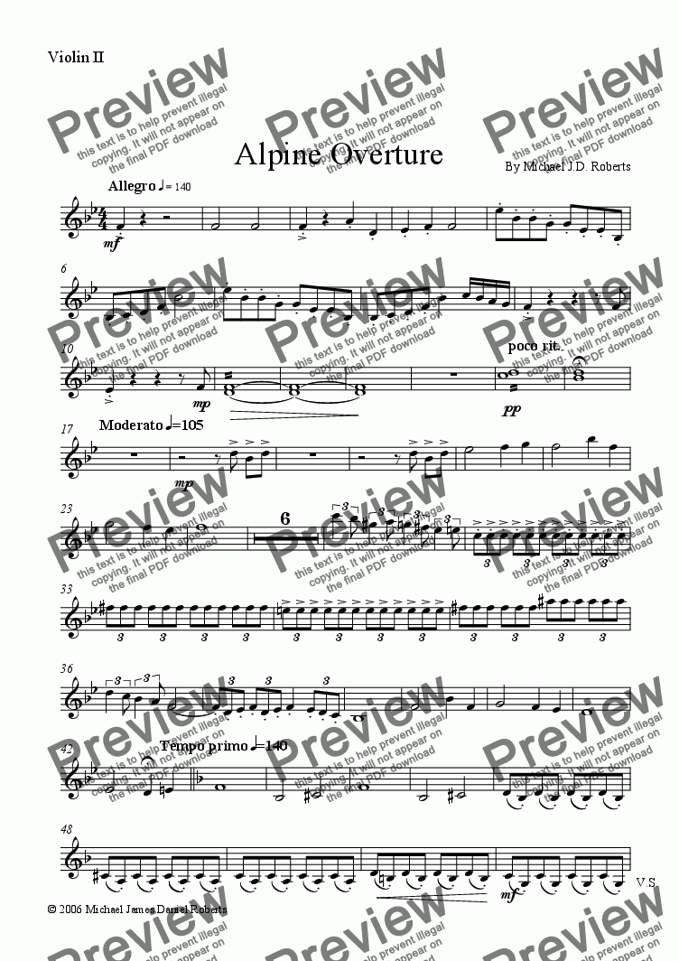 page one of the Violin II part from Alpine Overture