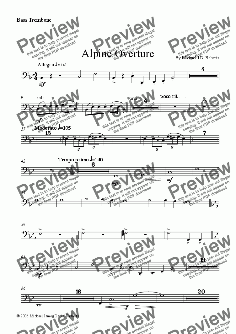 page one of the Bass Trombone part from Alpine Overture