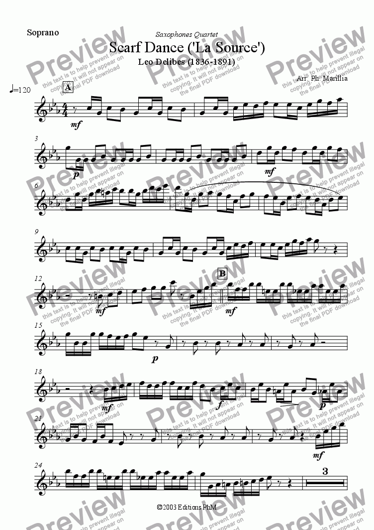 page one of the Soprano Sax part from Delibes - Scarf Dance (Sax Quartet)