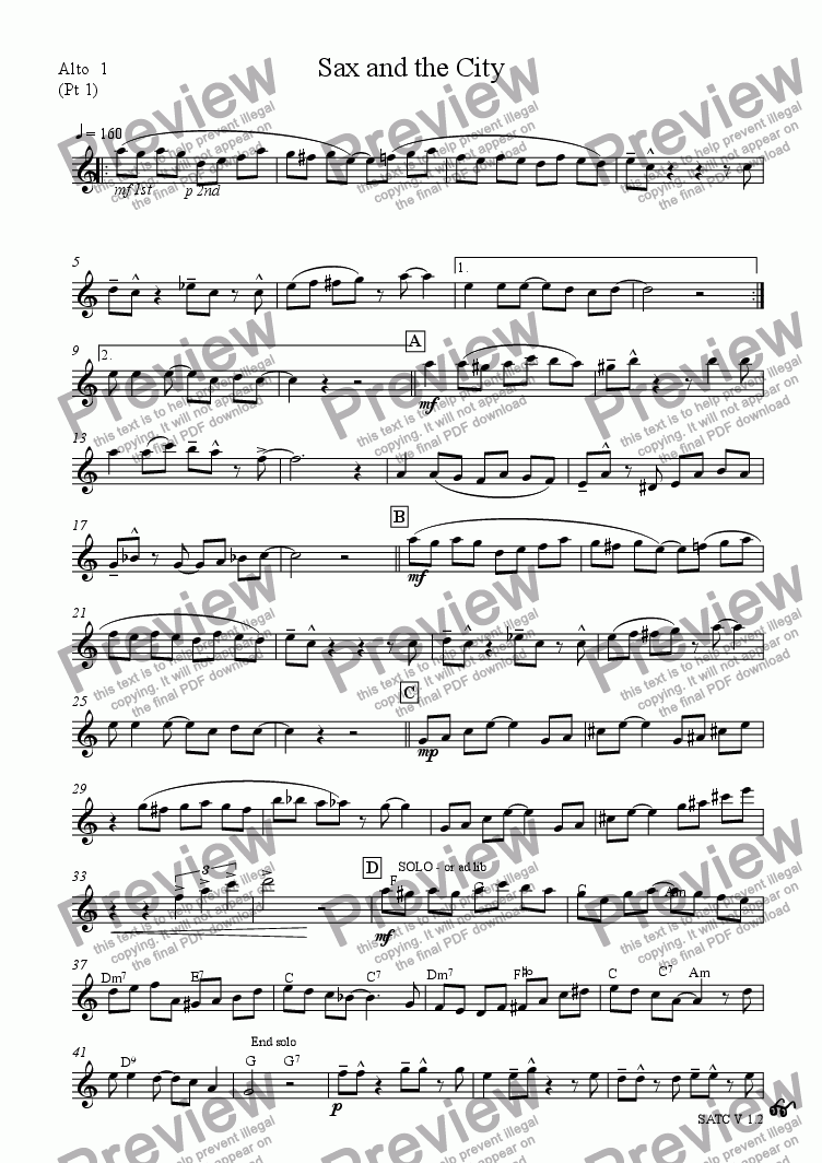 page one of the Part 1 Alto Sax 1 part from Sax and the City