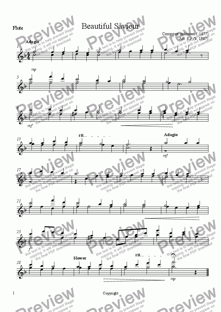 page one of the Flute part from Beautiful Saviour - Orchestra
