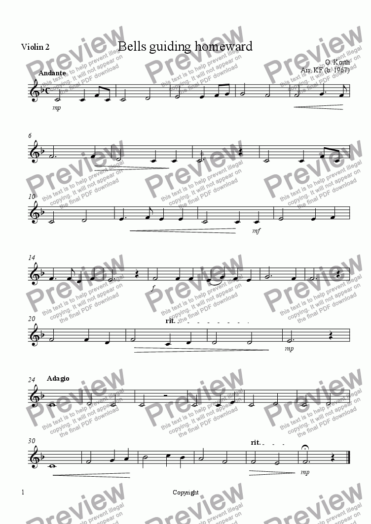 page one of the Violin 2 part from Bells guiding homeward - Orchestra