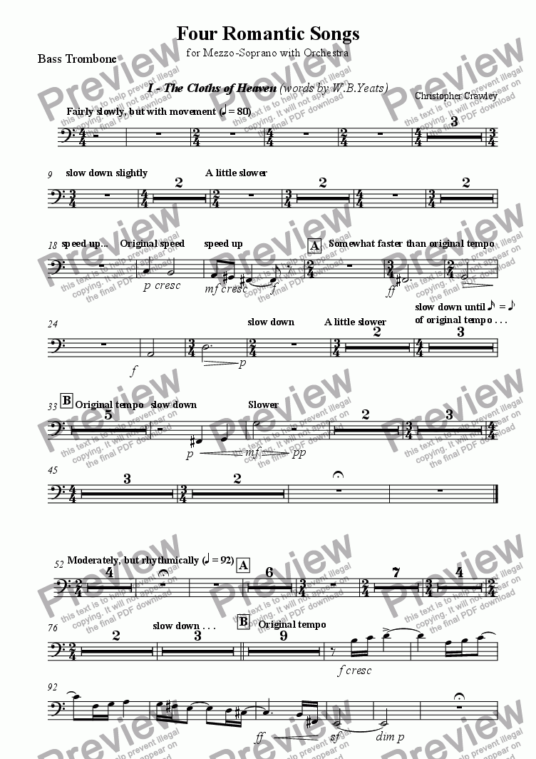 page one of the Bass Trombone part from Four Romantic Songs