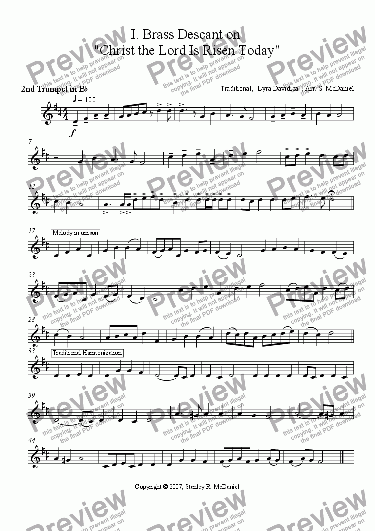 page one of the 2nd Trumpet in Bb part from Four Easter Hymn Accompaniments for Brass Quartet and Organ