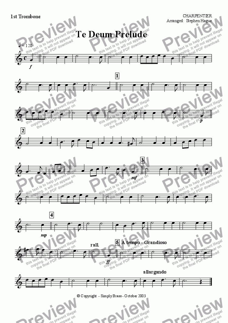 page one of the 1st Trombone part from Te-Deum Prelude