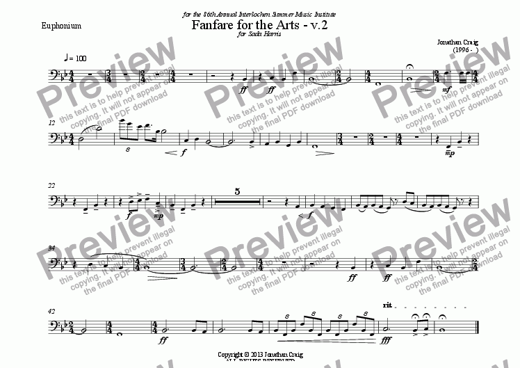 page one of the Euphonium part from Fanfare for the Arts - v.2