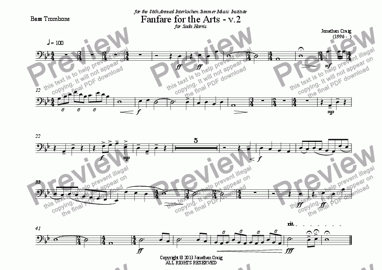page one of the Bass Trombone part from Fanfare for the Arts - v.2