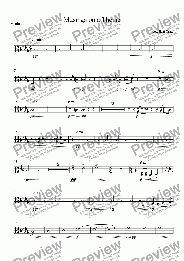 page one of the Viola II part from Musings on a Theme