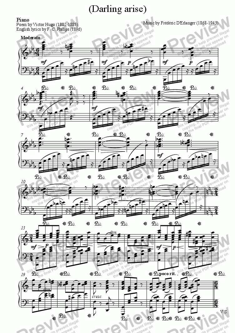 page one of the Piano part from L'aube naît (D'Erlanger / Victor Hugo)
