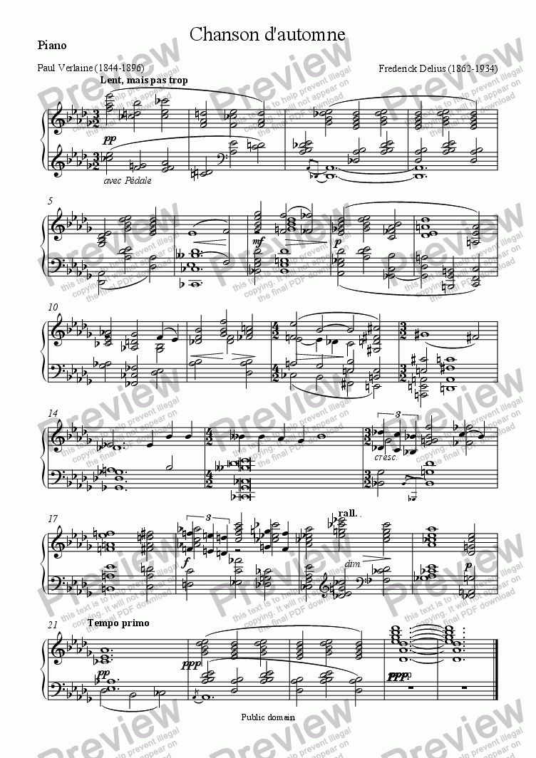 page one of the Piano part from Chanson d'automne (Delius / Verlaine)