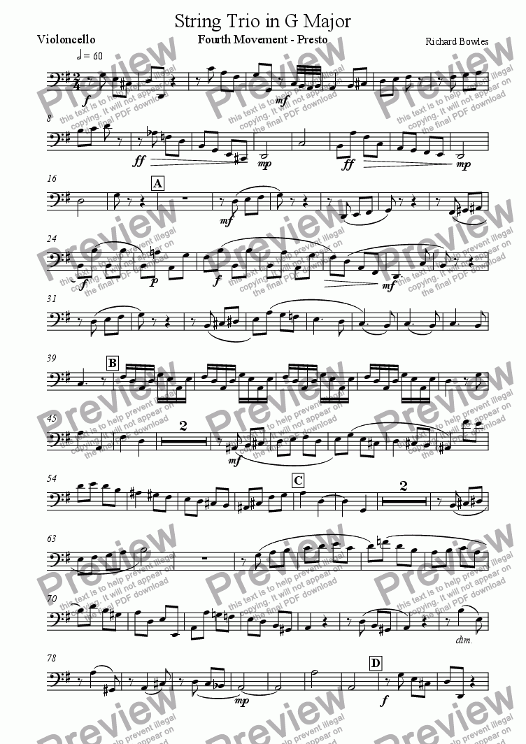page one of the Violoncello part from String Trio in G major - Fourth Movement