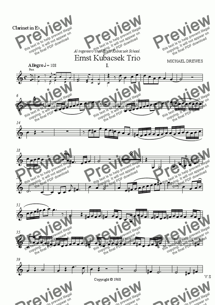 page one of the Clarinet in Eb part from Ernst Kubacsek Trio (Clarinet, Violoncello, Piano)