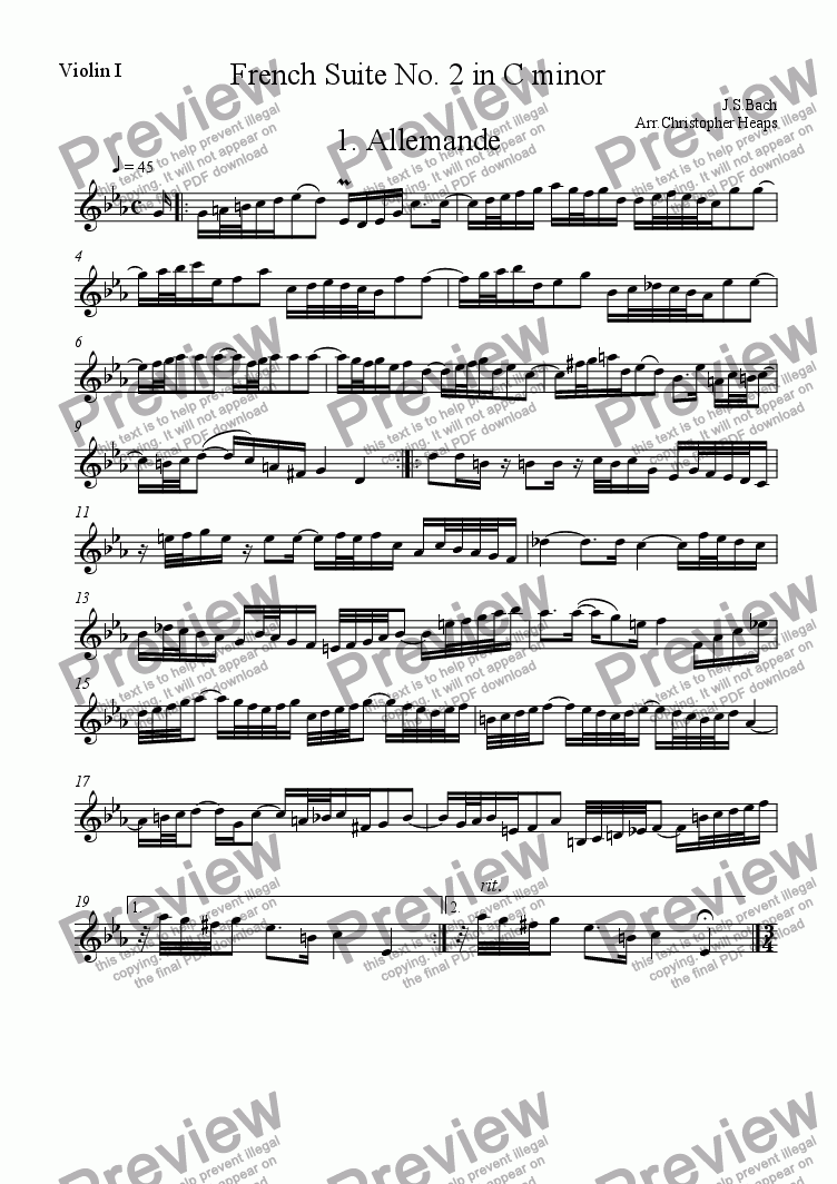 page one of the Violin I part from French Suite No 2 in C Minor for String Quartet, Violin Duo and Violin/Violoncello Duo