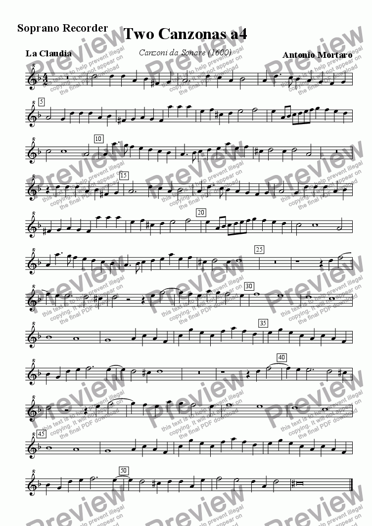 page one of the Soprano recorder part from Two Four-part Canzonas