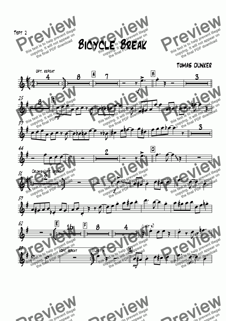 page one of the Trumpet 2 part from Bicycle Break (for BigBand)