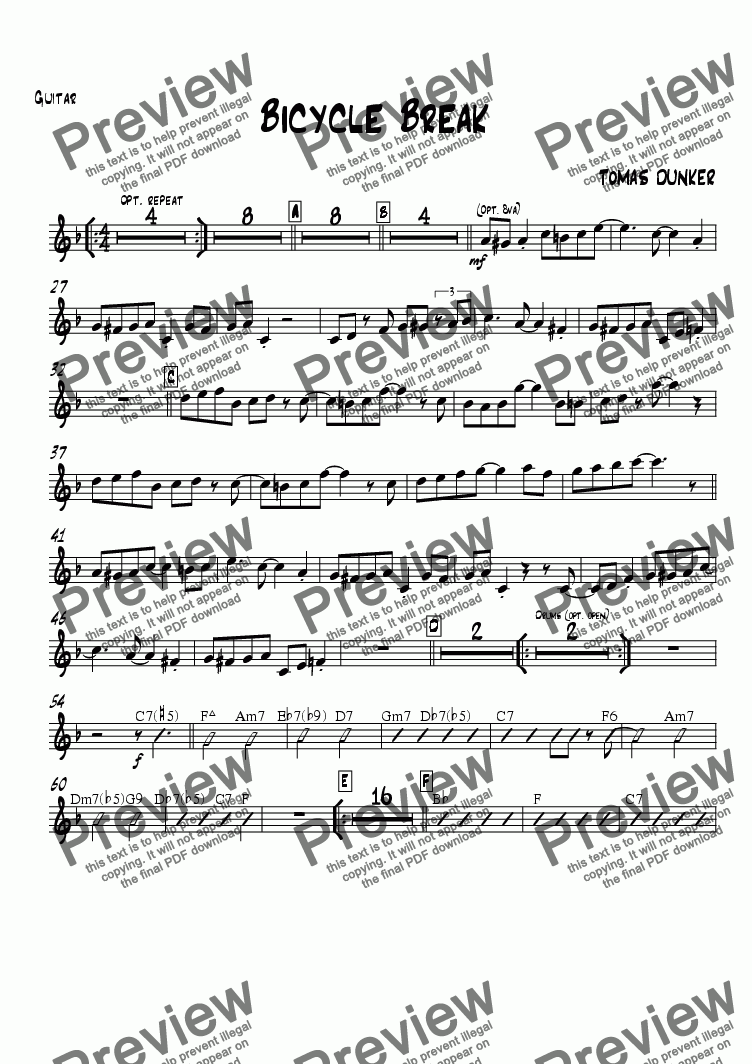 page one of the Guitar (opt) part from Bicycle Break (for BigBand)