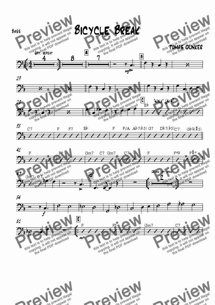 page one of the Bass part from Bicycle Break (for BigBand)