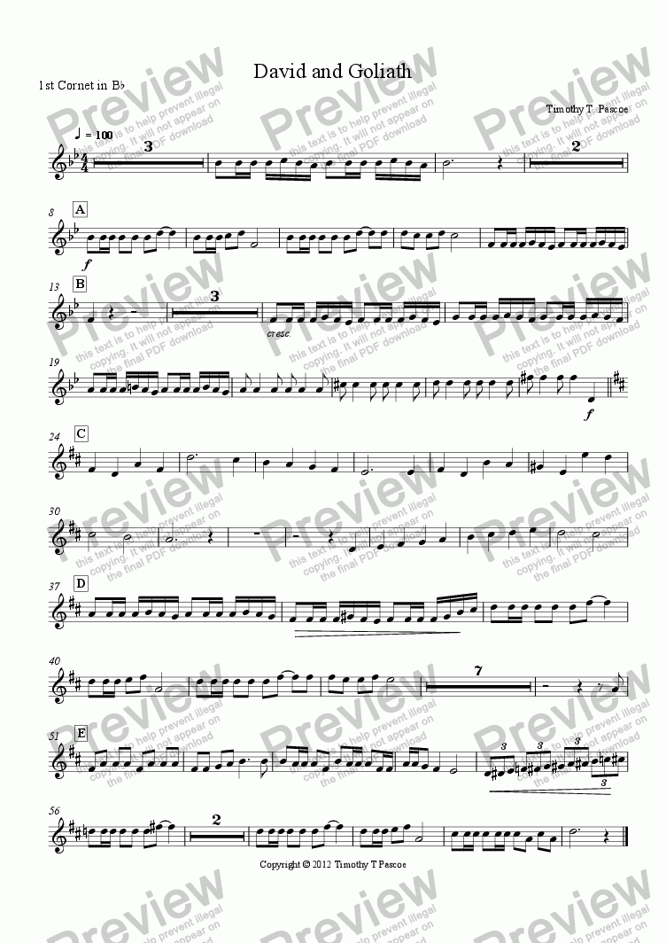 page one of the 1st Cornet in B^b part from David and Goliath (Brass Band)