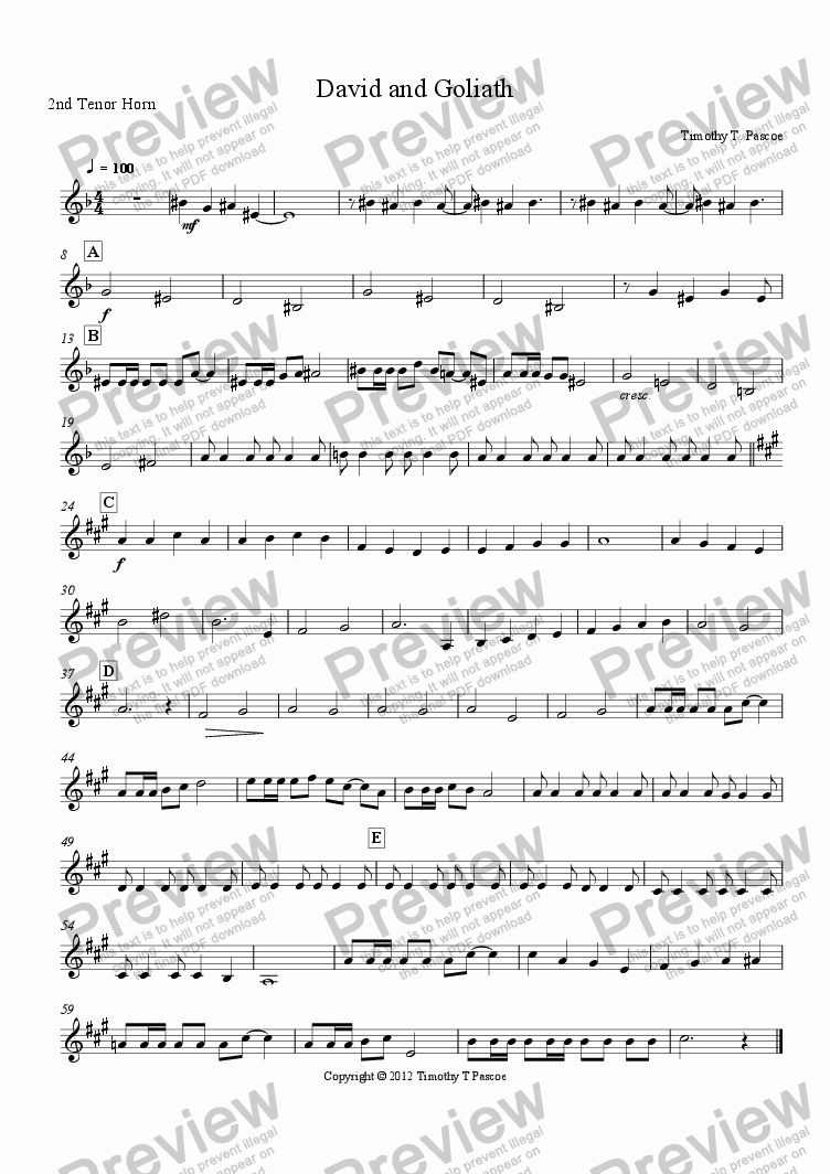 page one of the 2nd Tenor Horn part from David and Goliath (Brass Band)