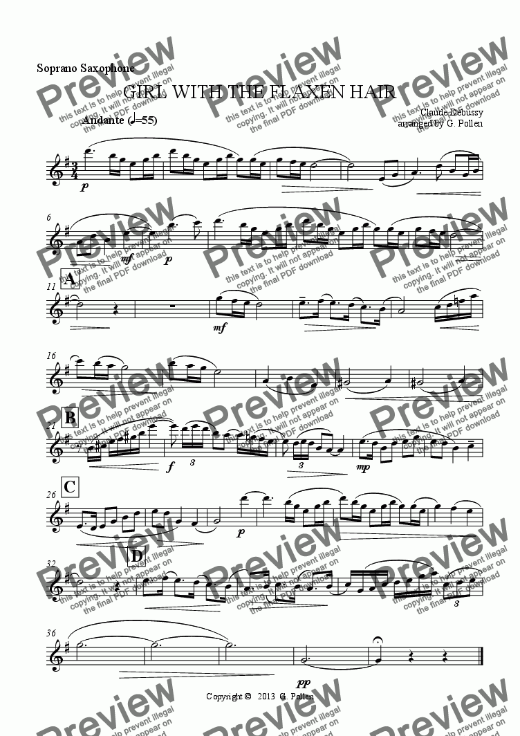 page one of the Soprano Saxophone part from GIRL WITH THE FLAXEN HAIR (Saxophone quartet)