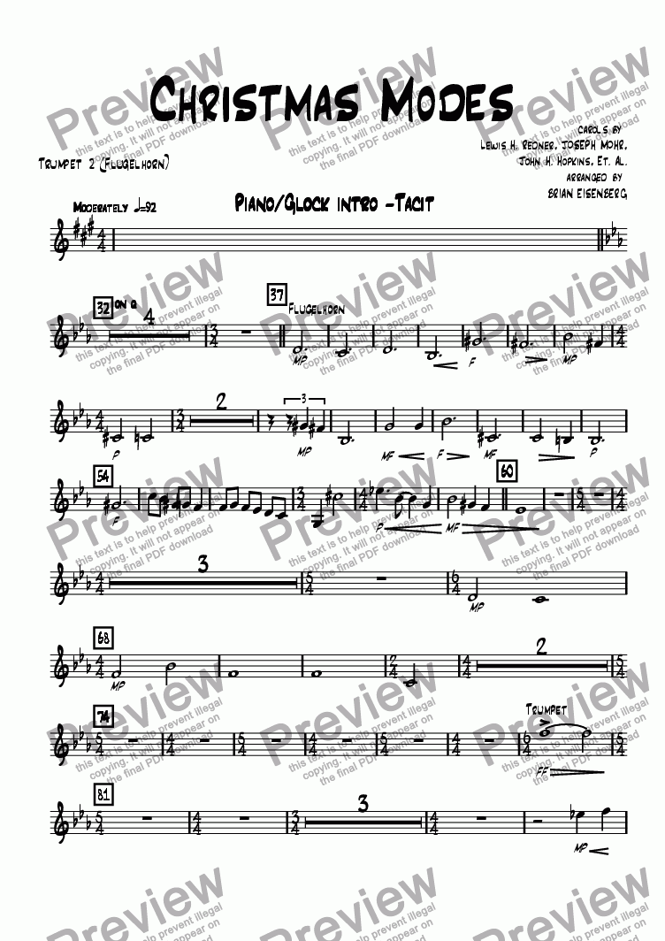 page one of the Trumpet 2 (Flugelhorn) part from Christmas Modes