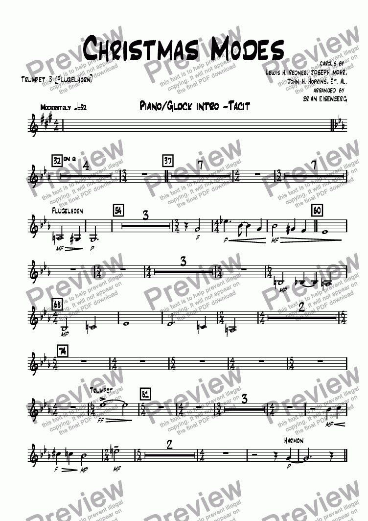 page one of the Trumpet 3 (Flugelhorn) part from Christmas Modes